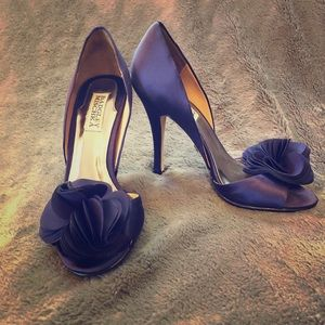 Badgley Mischka Purple Satin Pumps
